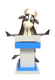 Bull cartoon character with speech table. 3d rendered illustration of Bull cartoon character with speech table Stock Photography