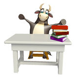 Bull cartoon character with table and chair and book stack. 3d rendered illustration of Bull cartoon character with table and chair and book stack Royalty Free Stock Images