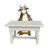 Bull cartoon character with table and chair. 3d rendered illustration of Bull cartoon character with table and chair Stock Images