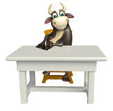 Bull cartoon character with table and chair. 3d rendered illustration of Bull cartoon character with table and chair Royalty Free Stock Photos
