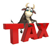 Bull cartoon character with tax sign. 3d rendered illustration of Bull cartoon character with tax sign Royalty Free Stock Photos