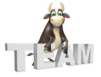 Bull cartoon character with team. 3d rendered illustration of Bull cartoon character with team Stock Photo