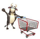Bull cartoon character  with trolly. 3d rendered illustration of Bull cartoon character  with trolly Stock Photos