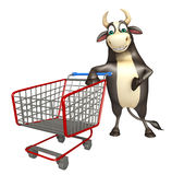 Bull cartoon character  with trolly. 3d rendered illustration of Bull cartoon character  with trolly Stock Images