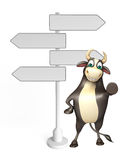 Bull cartoon character with way sign. 3d rendered illustration of Bull cartoon character with way sign Stock Images