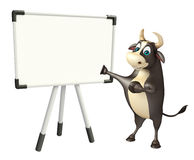 Bull cartoon character with white board. 3d rendered illustration of Bull cartoon character with white board Stock Images