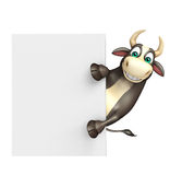 Bull cartoon character with white board. 3d rendered illustration of Bull cartoon character with white board Royalty Free Stock Photos