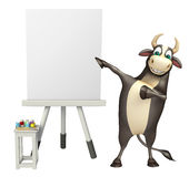Bull cartoon character with white board. 3d rendered illustration of Bull cartoon character with white board Royalty Free Stock Image