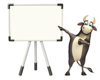 Bull cartoon character with white board. 3d rendered illustration of Bull cartoon character with white board Stock Photos