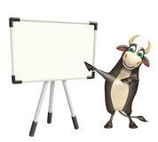 Bull cartoon character with white board. 3d rendered illustration of Bull cartoon character with white board Royalty Free Stock Images
