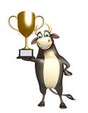 Bull cartoon character with winning cup Stock Photo
