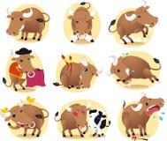 Bull cartoon illustration set Stock Images