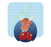Bull  cartoon ready to take over stock market Stock Images