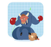 Bull  cartoon win over bear in stock market Royalty Free Stock Image
