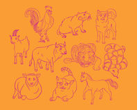 Bull, cat, cock, dog, goat, horse, rat, sheep, snake, tiger. Image of a Bull, cat, cock, dog, goat, horse, rat, sheep, snake, tiger - suitable for a child`s royalty free illustration