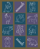 Bull, cat, dog, goat, horse, pig, rabbit, rat, sheep, snake. Image of a Bull, cat, dog, goat, horse, pig, rabbit, rat, sheep, snake - suitable for a child`s vector illustration