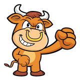 Bull Character is fighting gestures. Royalty Free Stock Photo