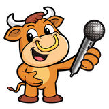 Bull Character the hand is holding a Microphone. Stock Photography