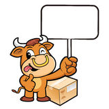 Bull Character the hand is holding a picket. Stock Photography
