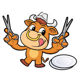 Bull Character is Holding a Cooking scissors of both hands. Stock Images