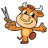 Bull Character is Holding a Cooking Scissors. Stock Photos