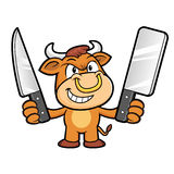 Bull Character is Holding a knife of both hands. Royalty Free Stock Images