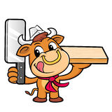 Bull Character is Holding a knife and chopping board. Royalty Free Stock Photo