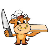 Bull Character is Holding a knife and cutting board. Stock Photos