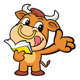Bull Character the left hand guides and the right hand is holdin Stock Images