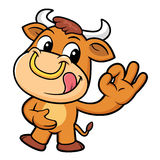 Bull Character the OK gesture. Stock Photography