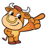 Bull Character is points a finger one direction. Stock Photo