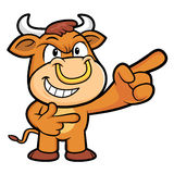 Bull Character is taking gestures of Double pistols. Royalty Free Stock Images