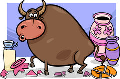 Bull in a china shop cartoon Royalty Free Stock Photo