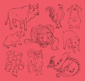 Bull, cock, dog, dragon, pig, rabbit, rat, snake, tiger Royalty Free Stock Photo