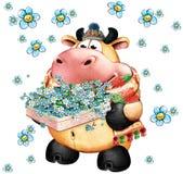 Bull com um presente Fotografia de Stock Royalty Free