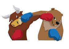 Bull contra el símbolo del oso del azul rojo del ejemplo de la tendencia del mercado de acción libre illustration