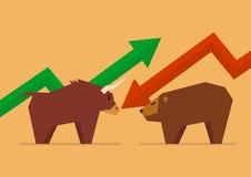 Bull contra el símbolo del oso del mercado de acción stock de ilustración