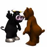Bull contra mercado de oso Fotografía de archivo libre de regalías