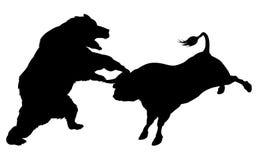 Bull contra o conceito da silhueta do urso Imagens de Stock