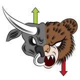 Bull contra o urso Fotos de Stock Royalty Free