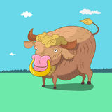Bull. Cute bull with gold ring. Vector illustration Stock Image