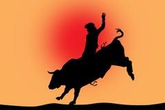 Bull, das schwarzes Schattenbild auf Rot reitet Stockbilder