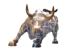 Bull de carga en Lower Manhattan, NY Fotografía de archivo