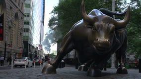 Bull de carga en Wall Street en Manhattan, New York City, los E.E.U.U. almacen de metraje de vídeo