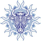 Bull with decorative pattern ellement. Royalty Free Stock Image