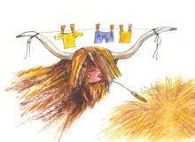 Bull. Desenho Foto de Stock Royalty Free