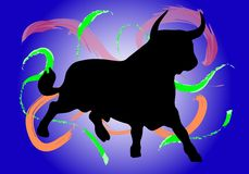 Bull with different colors Royalty Free Stock Images