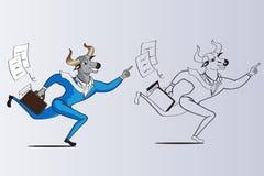 Bull dirige o homem de negócios está correndo para ganhar o vec da ilustração do objeto Foto de Stock Royalty Free