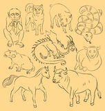 Bull, dog, dragon, horse, monkey, pig, rat, sheep, snake. Image of bull, Dragon, dog, horse, monkey, pig, rat, sheep, snake - suitable for a child`s coloring royalty free illustration