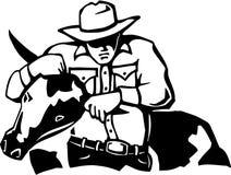 Bull Dogging. Line Art Illustration of Bull Dogging royalty free illustration